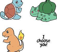 Kanto Pokemon Starters by takohako