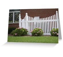 WHITE PICKET FENCE WITH FLOWERS Greeting Card