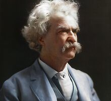 Colorized  - Mark Twain / Samuel L Clemens with signature by Sanna Dullaway