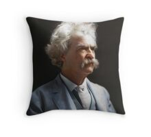 Colorized  - Mark Twain / Samuel L Clemens with signature Throw Pillow