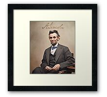 Colorized  - Abraham Lincoln with Signature Framed Print