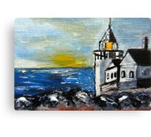 ACEO Original Oil Painting - Maine Lighthouse Canvas Print