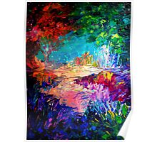WELCOME TO UTOPIA Bold Rainbow Multicolor Abstract Painting Forest Nature Whimsical Fantasy Fine Art Poster