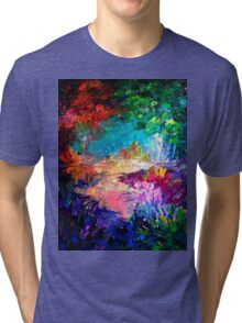 WELCOME TO UTOPIA Bold Rainbow Multicolor Abstract Painting Forest Nature Whimsical Fantasy Fine Art Tri-blend T-Shirt