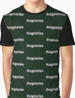 Vegetarian - Hashtag - Black & White Graphic T-Shirt