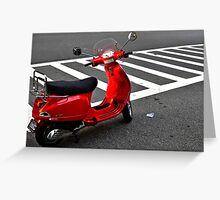 Red Vespa Scooter about to embark Greeting Card