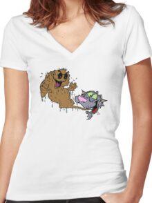 hairball monster  Women's Fitted V-Neck T-Shirt
