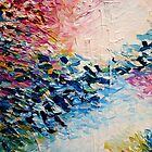 PARADISE DREAMING Colorful Pastel Abstract Art Painting Textural Pink Blue White Tropical Brushstrokes by EbiEmporium