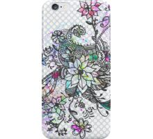 Pink watercolor hand painted floral polka dots  iPhone Case/Skin