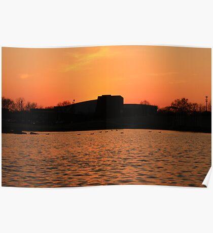 Orange Sunset over Lisle High School Poster