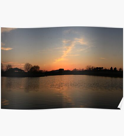 Orange Sunset over Lisle High School Poster