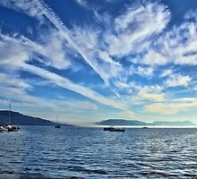 Contrails Over Charmouth by Susie Peek