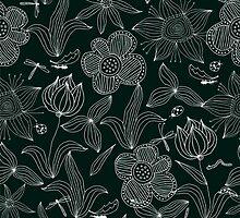 White on Black: Doodle Flowers by Nataliia-Ku