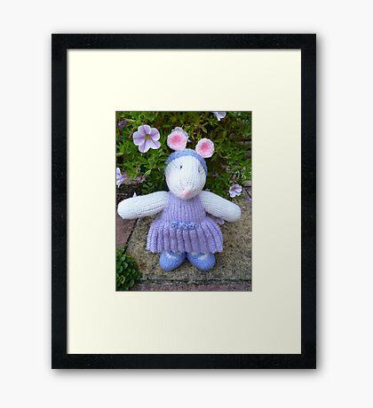 Hand Knitted Girl Mouse Framed Print