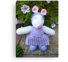 Hand Knitted Girl Mouse Canvas Print