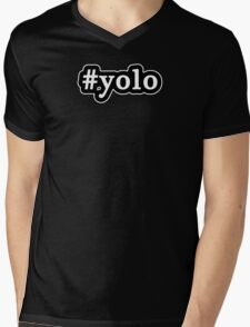YOLO - Hashtag - Black & White Mens V-Neck T-Shirt