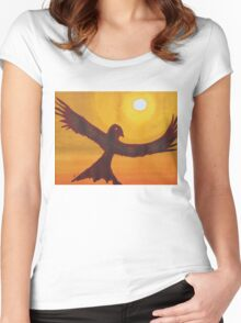 Red Crow Repulsing the Monkey original painting Women's Fitted Scoop T-Shirt