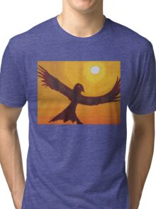 Red Crow Repulsing the Monkey original painting Tri-blend T-Shirt