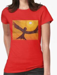 Red Crow Repulsing the Monkey original painting Womens Fitted T-Shirt