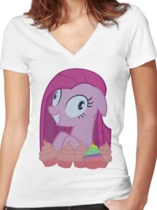 Pinkamena [SFW] (+Cupcakes!) Women's Fitted V-Neck T-Shirt