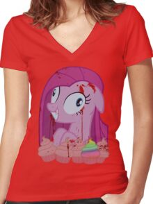 Pinkamena's Bloody Cupcakes Women's Fitted V-Neck T-Shirt