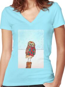 Burrowing Owl in an Ugly Christmas Sweater Women's Fitted V-Neck T-Shirt