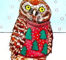 Burrowing Owl in an Ugly Christmas Sweater Sticker
