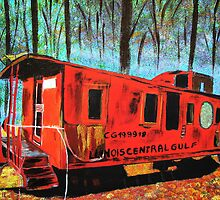 Train car in the woods by maggie326