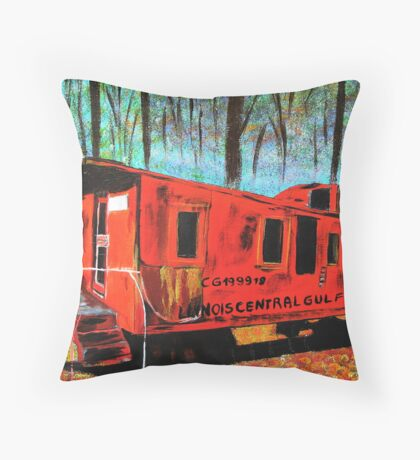 Train car in the woods Throw Pillow