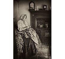 Darning by the fire Photographic Print