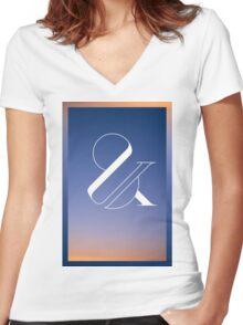 Sunset & Women's Fitted V-Neck T-Shirt