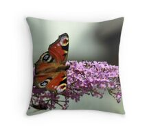Peacock Butterfly and hoverfly Throw Pillow