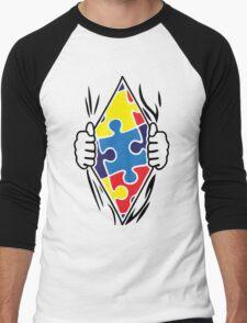 Autism Superhero Men's Baseball ¾ T-Shirt