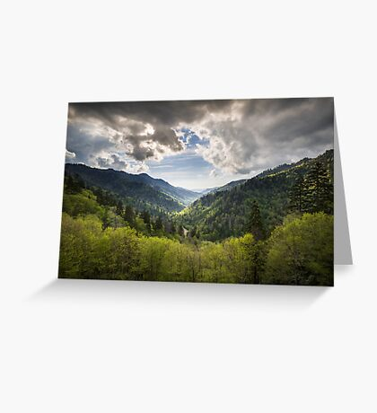 Great Smoky Mountains Landscape Photography - Spring at Mortons Overlook Greeting Card
