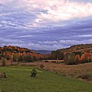 Fall Landscape under a Purple Twilight Sky by Chantal PhotoPix