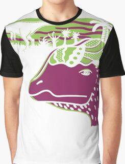 Dilophosaurus Duo - Green and Purple Graphic T-Shirt