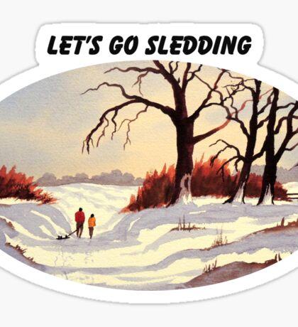 Let's Go Sledding Sticker