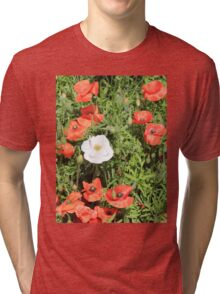 White poppy in a field of red and green Tri-blend T-Shirt
