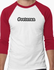 Veteran - Hashtag - Black & White Men's Baseball ¾ T-Shirt