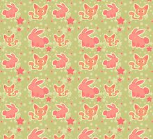Bunnies and Kitties Pattern by SaradaBoru