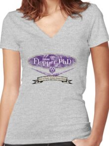 Dive to Prone, Zombies Gonna Groan (V2) Women's Fitted V-Neck T-Shirt