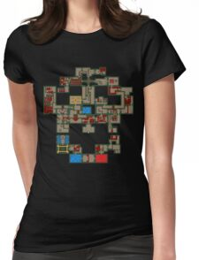8BIT Skull Map Womens Fitted T-Shirt