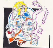 Night Drawings - Les Dessins de Nuit n°56  - Scaphandre Bleu by Pascale Baud
