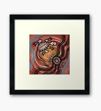 Authentic Aboriginal Art - Lizard Framed Print