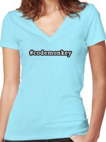Code Monkey - Hashtag - Black & White Women's Fitted V-Neck T-Shirt