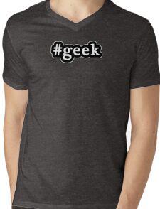 Geek - Hashtag - Black & White Mens V-Neck T-Shirt