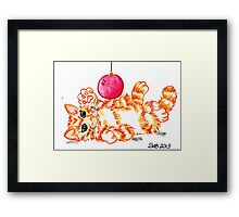 2013 Holiday ATC 20 - Kitten Playing with Ornament Framed Print