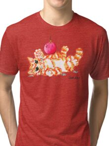 2013 Holiday ATC 20 - Kitten Playing with Ornament Tri-blend T-Shirt