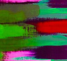Green Red and Pink Brush Stroke Horizontal Lines Sticker