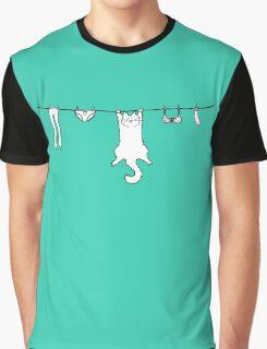 Wet Washing Cat Graphic T-Shirt